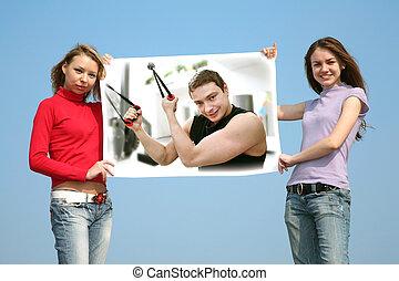 collage, filles, homme, carte