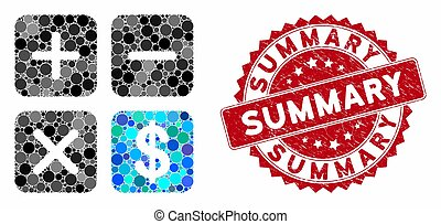 Collage Financial Calculator with Textured Summary Seal