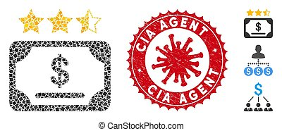 Collage Financial Share Rating Icon of Joggly Parts with Coronavirus Distress CIA Agent Stamp