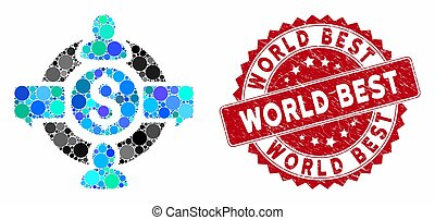 Collage Financial Social Network with Grunge World Best Stamp