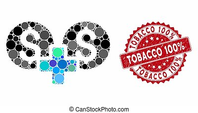 Collage Financial Sum with Distress Tobacco 100% Seal