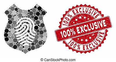 Collage Fingerprint Shield with Scratched 100% Exclusive Stamp