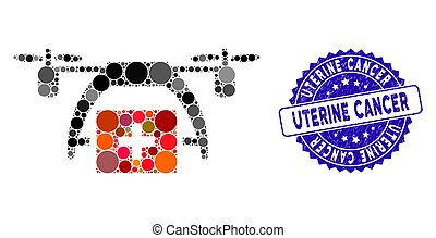 Collage First Aid Drone Icon with Textured Uterine Cancer Seal