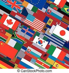 collage, flaggen, hintergrund