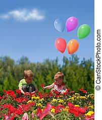 collage, fleurs, ballons, enfants