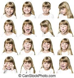 collage, flicka, ung