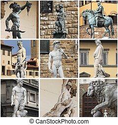 collage, florencia, estatuas