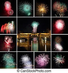 collage, florencia, fuegos artificiales, italia