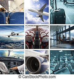 collage, flughafen, geschaeftswelt
