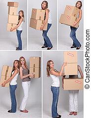 collage, flyttande dag, kvinnor