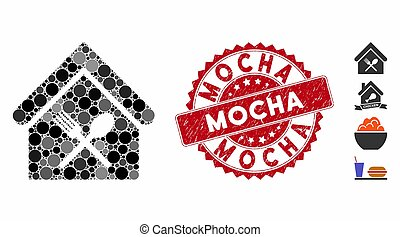 Collage Food Court Icon with Scratched Mocha Stamp