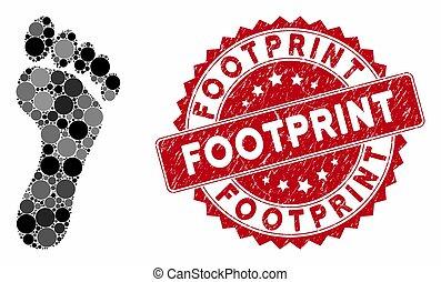 Collage Footprint with Grunge Footprint Stamp