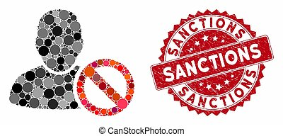 Collage Forbidden User with Scratched Sanctions Stamp