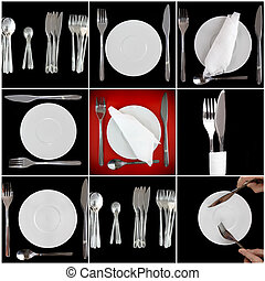 Collage- forks, knifes, spoons on black background.