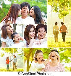 collage, foto, concept., giorno, madri