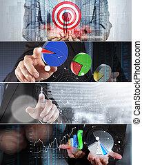 collage, foto, concept, handel strategie