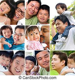 collage, foto, concept., vader, dag