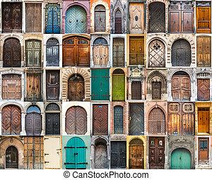 collage, foto, dörrar
