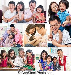collage, foto, familj
