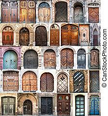 collage, foto, gammal, dörrar