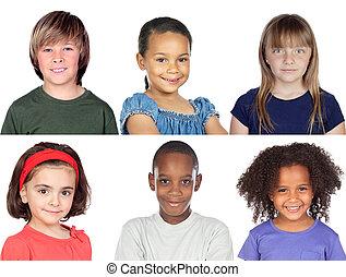 collage, foto, kinderen
