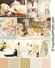 collage, foto, matrimonio