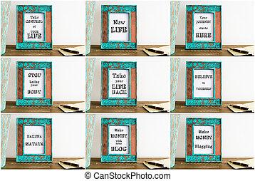 collage, foto, motivational, texte, verschieden, rahmen