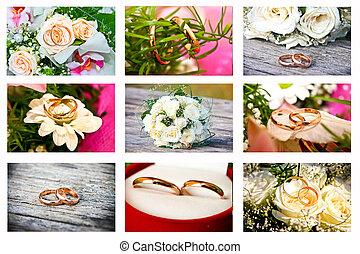 collage, foto, nio, bröllop