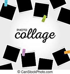 collage, foto, sagoma