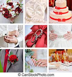 collage, foto, stile, rosso, matrimonio
