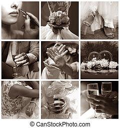 collage, foto's, negen, trouwfeest