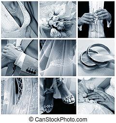collage, fotos, neun, wedding