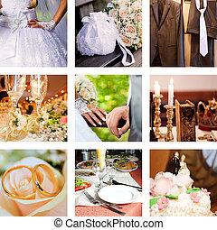 collage, fotos, nueve, boda