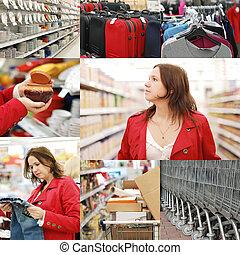 collage, fotos, supermarkt