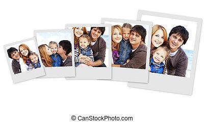 collage, foto's, van, jonge familie, aan het strand, in,...