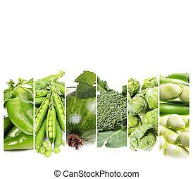 collage, frische gemüse, ., gesundes essen, hintergrund