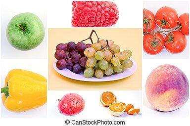 collage, frisk, grönsaken, frukter