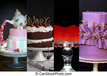 Collage from different pictures of cakes