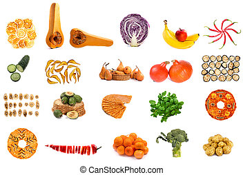 Collage from fruits and vegetables on a white background