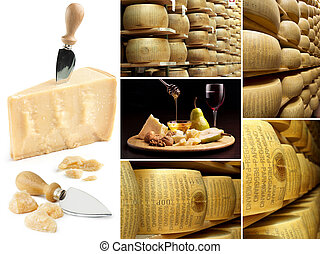 collage, fromage, parmesan