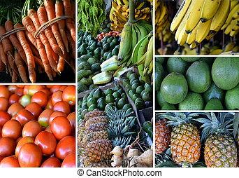 collage, fruta fresca