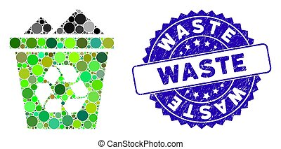 Collage Full Recycle Bin Icon with Textured Waste Seal