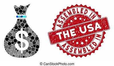 Collage Fund with Distress Assembled in the USA Seal