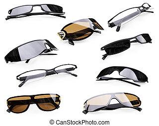collage, gafas de sol, aislado