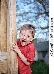 collage, garçon, peu, sien, langue dehors