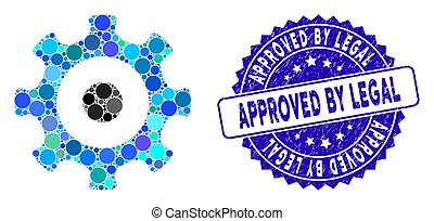 Collage Gear Icon with Distress Approved by Legal Stamp