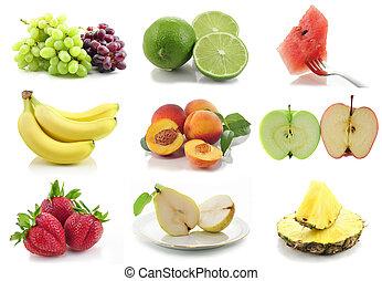 collage, geassorteerd, kleurrijke, vruchten