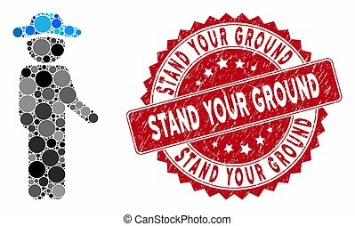 Mosaic gentleman idler and grunge stamp watermark with Stand Your Ground caption. Mosaic vector is created with gentleman idler icon and with scattered round elements.