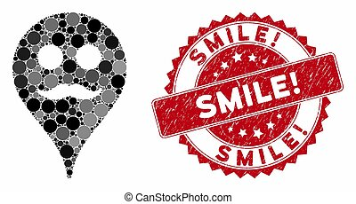Collage Gentleman Smiley Map Marker with Textured Smile! Seal