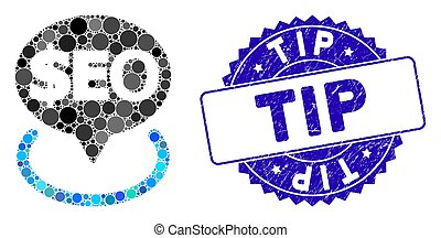 Collage Geotargeting Seo Icon with Textured Tip Stamp - ...